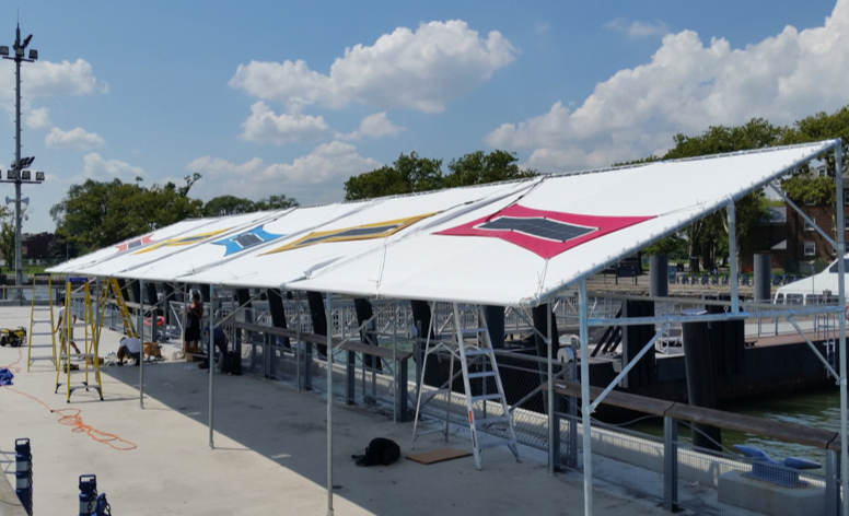 Solar Shade Canopy at Yankee Pier on Governor's Island